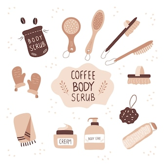 커피 스크럽 및 마사지 브러쉬 셀룰 라이트 화장품