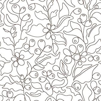 커피 원활한 패턴 아트 라인 트리 간단한 분기 잎 곡물 추상 손으로 그린 자연