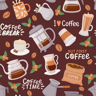 コーヒーのシームレスなパターン。カプチーノ、ラテ、エスプレッソメーカー、クリームのカップ。コーヒーの要素とカフェやキッチンのベクトルの壁紙の引用。ラテのイラストカップ、コーヒードリンク朝食