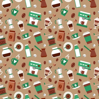 Coffee seamless pattern decorative background with coffee-bulb turk french press vector illustration