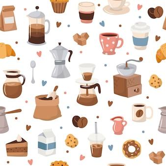 コーヒーのシームレスなパターン、さまざまなコーヒーの要素。
