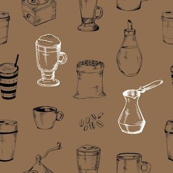 커피 원활한 패턴 손으로 그린된 벡터 커피 아이콘