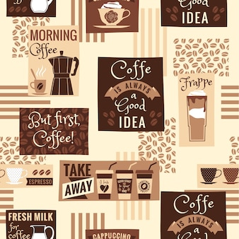 Coffee seamless pattern. vector template.
