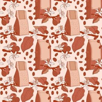 팩, 꽃과 가지와 커피 완벽 한 패턴