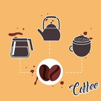 Кофейные семечки и чайник для производства стекла и чашка для капучино