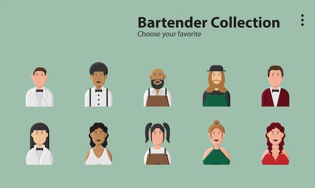 Coffee servise restaurant set club bartender alcohol cocktail illustration background character