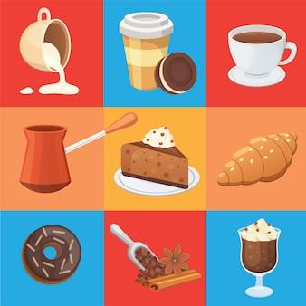 コーヒーセットと甘いデザートのイラスト。エスプレッソ、マキアート、チョコレートなど、さまざまな種類のドリンク。