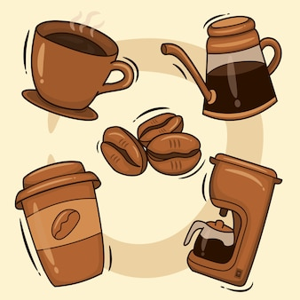 Coffee set. hot coffee drinks in cups, instant coffee in bottles, and coffee maker