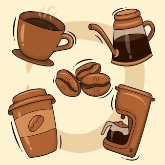 Кофейный сервиз. горячие кофейные напитки в чашках, растворимый кофе в бутылках и кофеварка