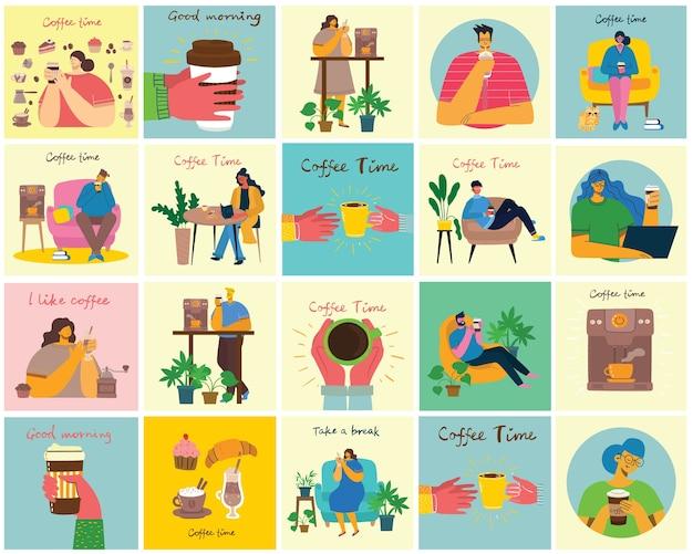 커피 세트 삽화. 사람들은 카페테리아에서 카푸치노, 라떼, 에스프레소를 마시고 플랫 스타일로 디저트를 먹으며 시간을 보냅니다.
