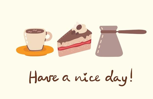 コーヒーセットのイラスト。人々はカフェテリアで時間を過ごし、カプチーノ、ラテ、エスプレッソを飲み、フラットなスタイルでデザートを食べます