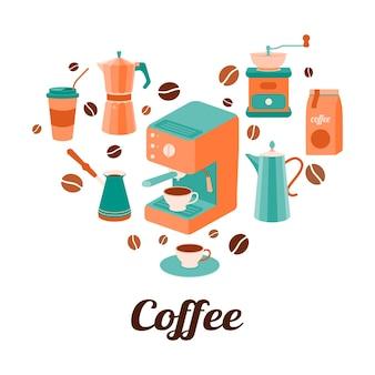 ハートの形をしたコーヒーコーヒーグラインダー間欠泉コーヒーメーカーコーヒーポットグレインとカップ