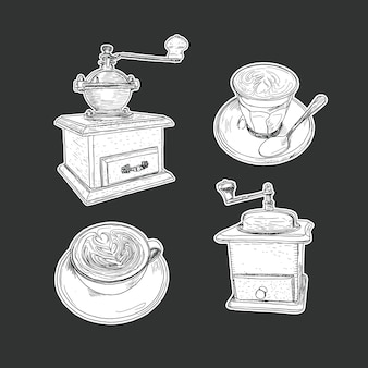 Coffee set isolated vector.