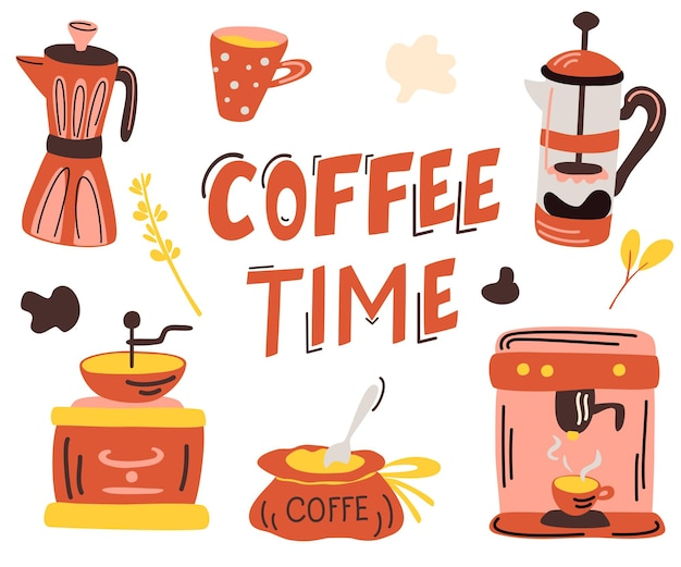 Кофейный сервиз. надпись время кофе. рука ничья тема кофе, кофейник, кружка, чашка, французский пресс, кофеварка, кофемолка. векторные иллюстрации шаржа, изолированные на белом фоне.