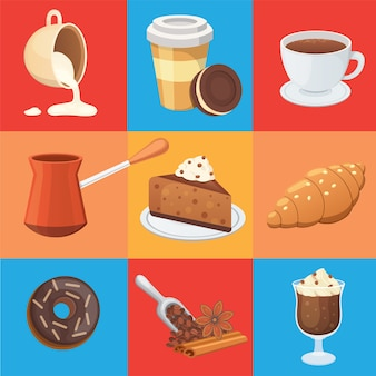 Coffee set and sweet desserts   illustration. different drink types including espresso, macchiato, chocolate.