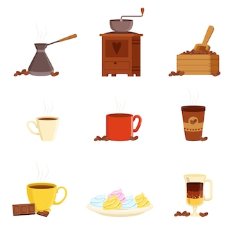 Coffee set, various kitchen utensils for making coffee and food ingredients vector illustrations