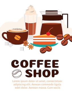 Coffee shop advertisement with beautiful elements for cafe.
