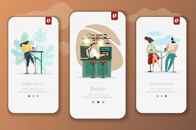 Coffee shop app banners set