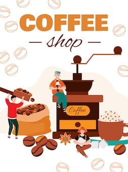 コーヒーショップのバナーまたはポスターテンプレート Premiumベクター