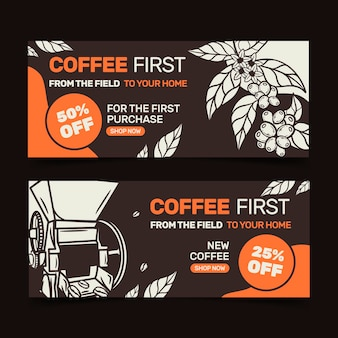 Coffee shop banners template