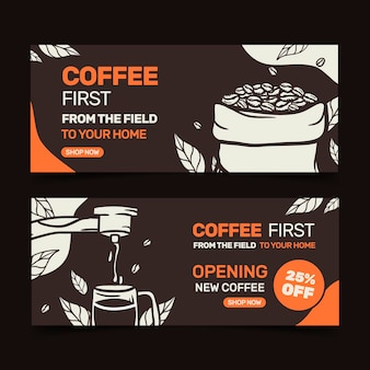 Coffee shop banners templates set