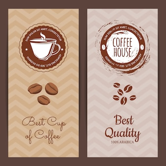 Coffee shop or brand logo vertical banner or flyer templates