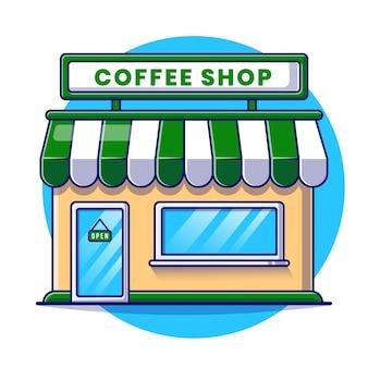 コーヒーショップの建物の漫画イラスト