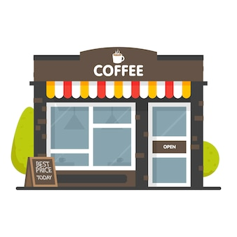 Coffee shop building facade. signboard with big hot cup of coffee.  style  illustration.  on white background.