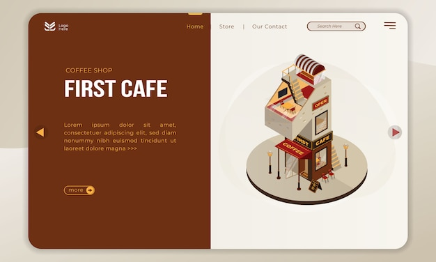 The coffee shop building for first cafe with isometric number 1 on landing page