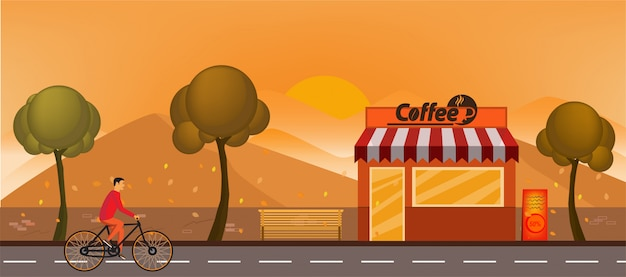 Coffee shop building front view flat horizontal illustration