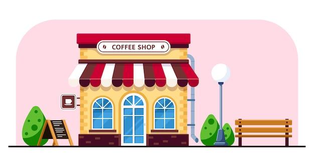 Здание кафе в плоский стиль иллюстрации Premium векторы