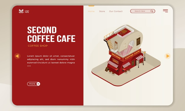 The coffee shop building for second cafe with isometric number 2 on landing page