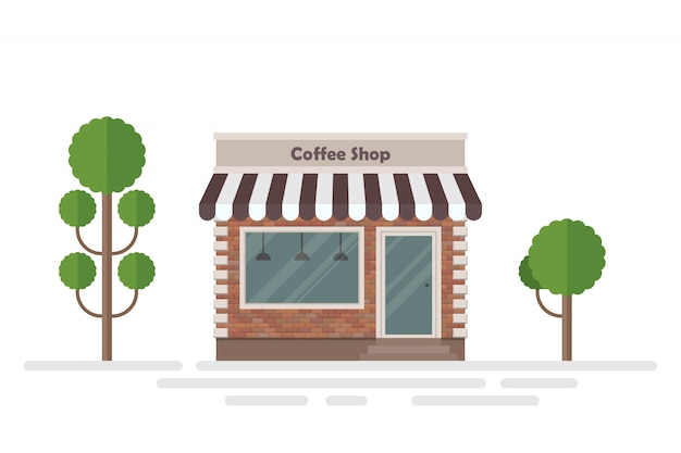 Coffee shop building and trees illustration