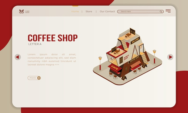The coffee shop building with isometric letter a on landing page