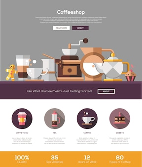 Coffee shop, cafe bakery website template
