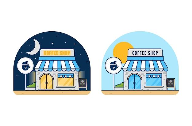 밤과 낮 시간에 커피 숍 카페 건물.