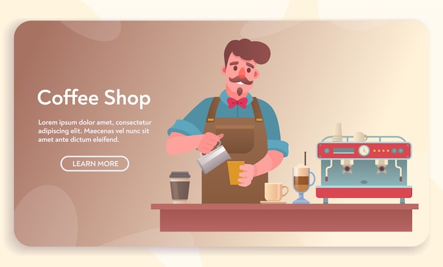 Coffee shop, cafe or cafeteria elements. man preparing beverage at counter. set of various desserts, coffee maker, grinder, types of drinks