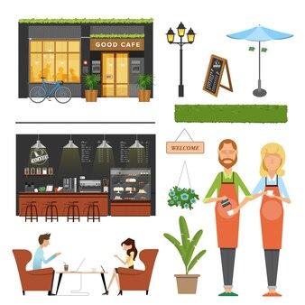 Coffee shop,cafe elements,barista,coffee machine, bar ,customer meeting, decoration