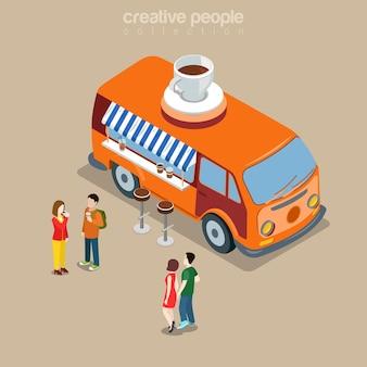 幸せなヒッピーバンフラットアイソメトリックのコーヒーショップカフェファーストフードストリートビストロレストラン