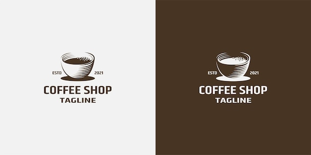 Coffee shop or cafe icon design template of hot coffee cup with steam