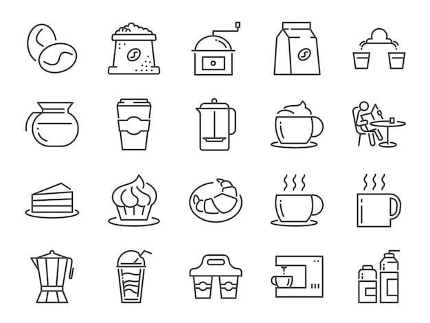 Coffee shop and cafe icon set.