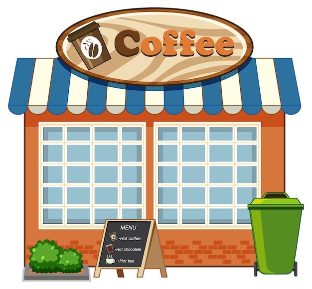 흰색 배경에 고립 된 커피 숍 만화 스타일