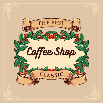 Coffee shop classic with vintage ribbon