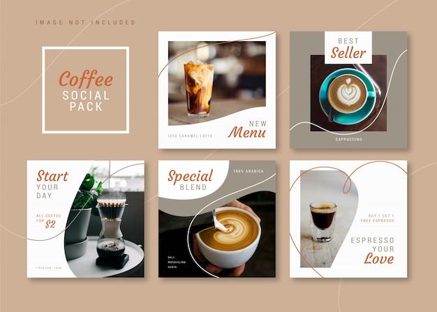 インスタグラム、facebook、カルーセルのコーヒーショップクリーンでシンプルな正方形のソーシャルメディアテンプレート。
