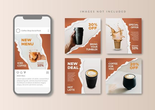 Кофейня чистый и простой квадратный шаблон для социальных сетей