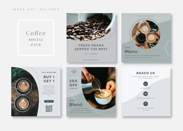 Coffee shop clean and simple square social media template carousels.