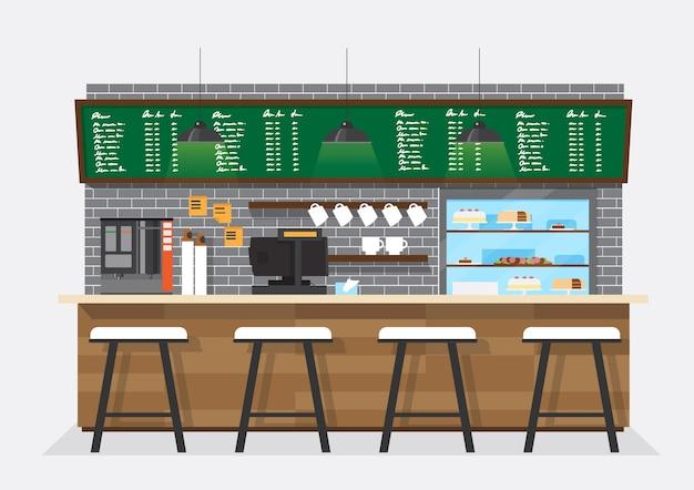 Coffee shop, coffee bar, counter