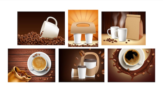 Coffee shop collection promo posters set vector. coffee beans and blank cups, package and paper holder for transportation hot drink advertising banners. style color concept template illustrations