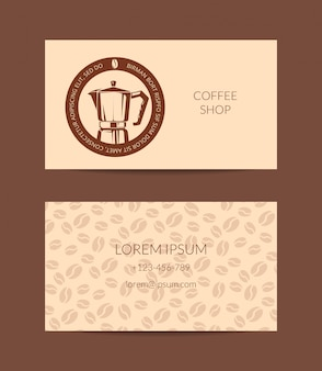 Coffee shop or company business card template isolated
