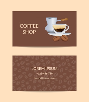 Coffee shop or company business card template woth cup